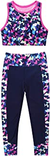 JEEYJOO Kids Girls Two Pieces Activewear Cutout Back Digital Printed Crop Top with Pant Workout Sports Outfit