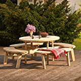 Harrier Round Wooden Picnic Bench - Wooden Garden Table and Bench Set   8 Seater Dining Table and Chairs   Wooden Garden Furniture   Patio Picnic Table and Benches
