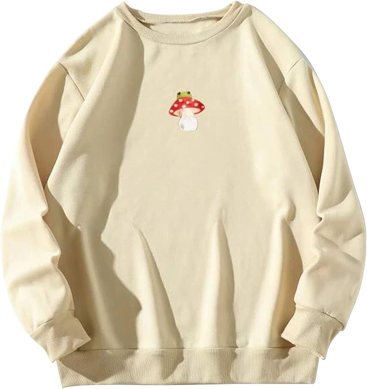 Meladyan Women Fleece Mushroom Graphic Print Oversized Sweatshirt Crewneck Long Sleeve Drop Shoulder Pullover Vintage