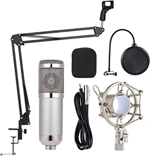 Professional Studio Broadcasting Recording Condenser Microphone Mic Kit Set 3.5mm with Shock Mount Adjustable Suspension S...