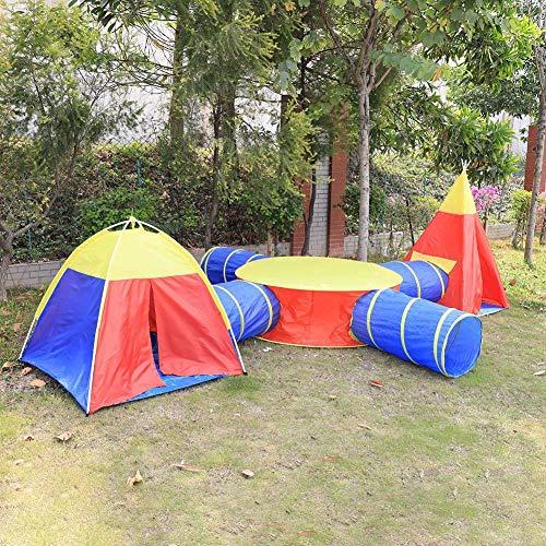 Estink Spielzelt, Kinderspielzelt 7 in 1 Kinderzelt, mit Rundzelt, Dreieck-Zelt, Krabbeltunnel, für Zuhause & im Garten Mehrweg
