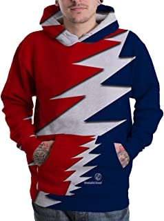 The grateful dead fans red and blue sport unisex sublimated 3D full print Pullover Hoodie Sweaters