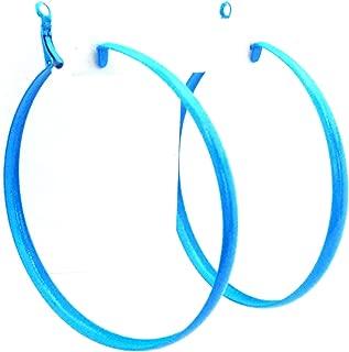 Blue Hoop Earrings Large Shiny Blue 3 inch Hoop Earrings