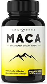 Organic Maca Root Powder Capsules – 1000mg Peru Grown – Energy, Performance..