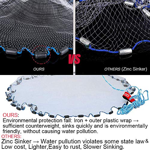 Goture American Saltwater Fishing Cast Net for Bait Trap Fish 4ft/6ft/8ft/10ft/12ft Radius, 1/4inch Mesh Size (8 Feet 1/4 Inch/3.3KG)