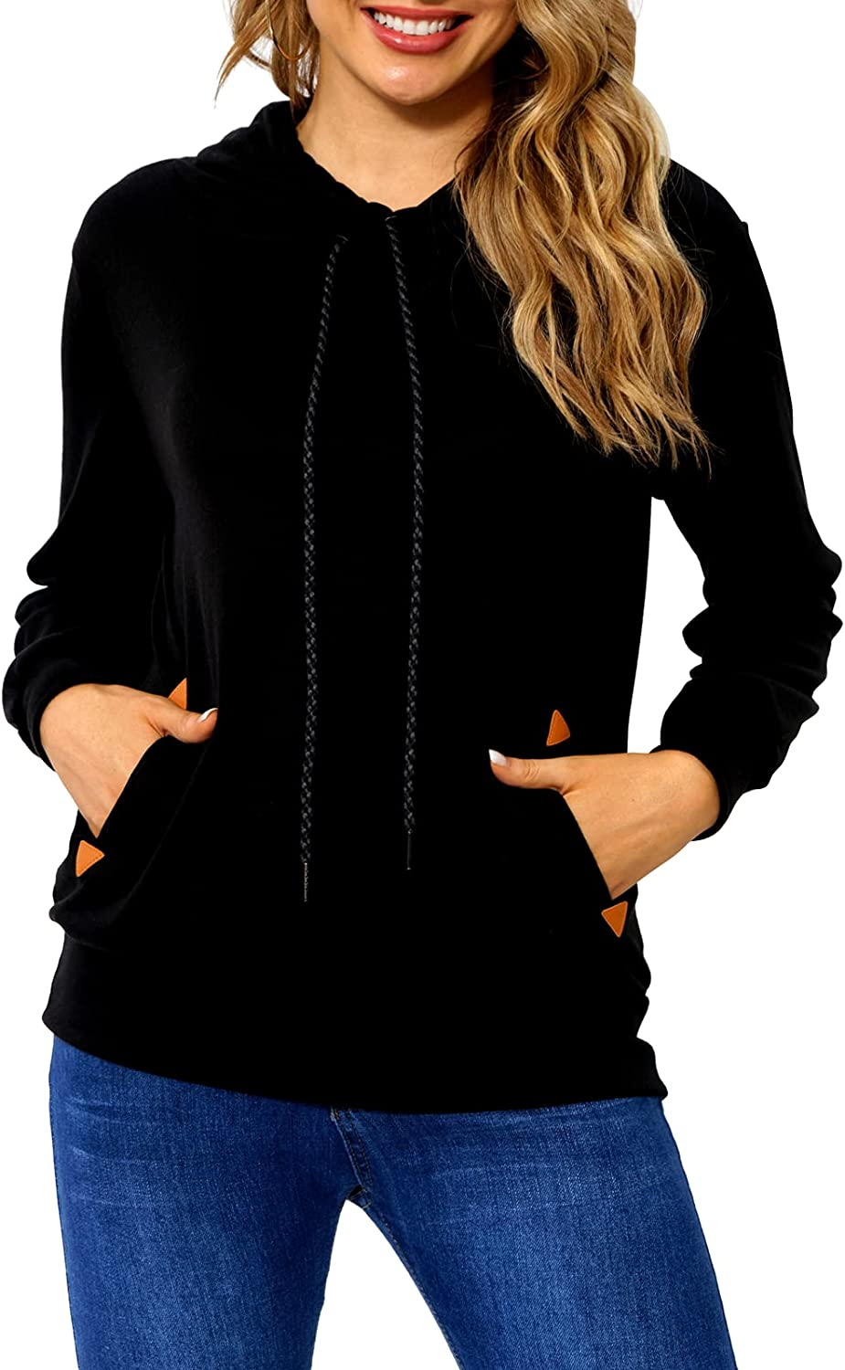 Begonia.K Women Lightweight Pullover Hoodies Casual Long Sleeve Drawstring Pullover Sweatshirts with Pockets