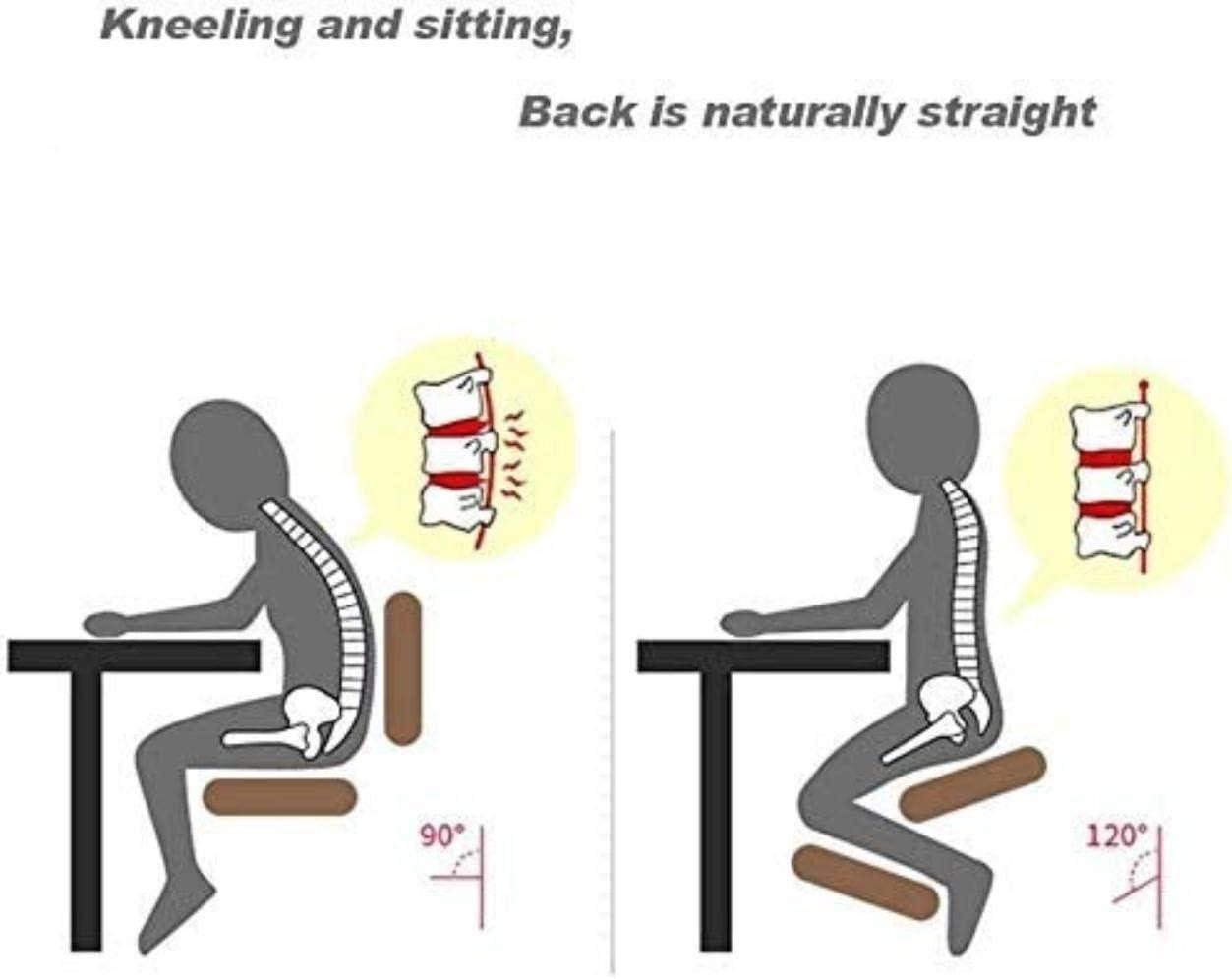 Soft Comfort agenouillé Chaises coton lin Angled Posture Seat Correction Kneel Tabouret en bois massif Chaise de bureau Chaise à genoux (Color : Green) Brown
