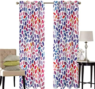 hengshu Geometric Pattern Curtains Blackout Trippy Abstract Watercolor Mix Figures Funky Structured Hand Drawn Artful Print Bedroom Decor Living Room Decor W52 x L63 Inch Multicolor