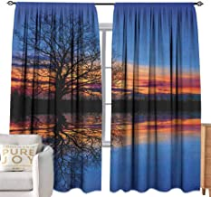 Andrea Sam Eclipse Curtains Nature,Majestic Full Branch Tree at Twilight with Water Reflection Out Magical Nature View, Blue Orange Bedroom Blackout Curtains,W96 x L84 inch