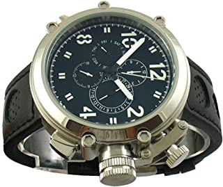 Fanmis Black Dial 50mm Big Face Automatic Mechanical Black Leather Strap Mens Wrist Watch