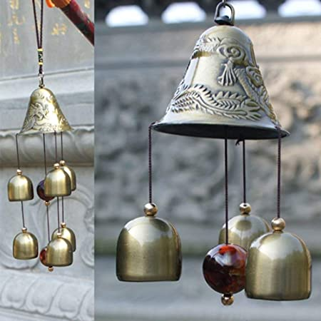 PARADIGM PICTURES Big Metal and Wooden Dragon 6 Bell Wind Chime for Home Positivity Hangings Good Luck