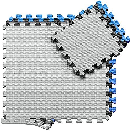 Tappeto da fitness a puzzle – set di 18 pezzi | superficie di protezione per pavimenti | materassino per palestra, workout, ginnastica | tappetino facile da pulire | efficace contro i liquidi e urti