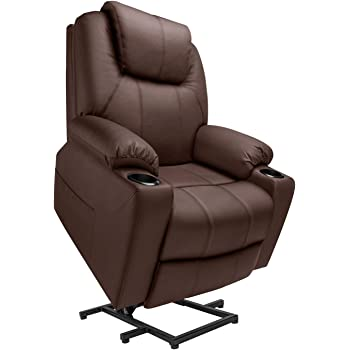 Furgle Power Lift Recliner Chair Faux Leather Electric with Massage Heat and Vibration for Elderly Living Room Lounge Massage Sofa with 2 Remotes Side Pockets and Cup Holders TUV Certified - Brown