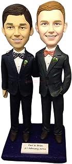 Gay maschio matrimonio matrimonio personalizzato Topper personalizzato gay matrimonio torta Topper Bobble figurina basato ...