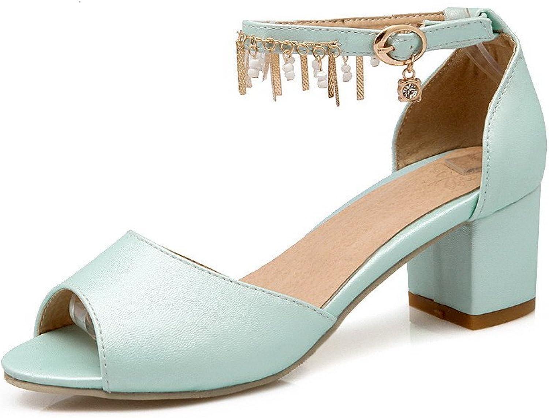 AmoonyFashion Women's Buckle Peep Toe Solid Kitten-Heels PU Sandals