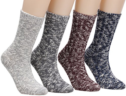 Women's Winter Vintage Cotton Wool Knit Long Crew Socks 4 Pairs 5-10 WS18 (4Pairs)