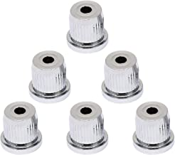 Metallor Guitar String Mounting Ferrules Through Body Mounts String Caps for Tele Telecaster Style Electric Guitar Parts Replacement Set of 6Pcs. (Chrome)