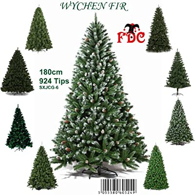 6ft Green Pine Artificial Christmas Tree with White Snow Tips