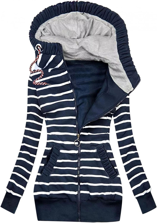 Wocachi Hoodies For Women, Funnel Neck Color Block Zip Up Tunic Sweatshirts Jackets Plus Size Long Hoodie Coat Dress