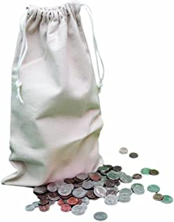 UBICON Five Standard Size 12 X 19 Inches Heavy Duty Coin Bags with Draw Strings (U8002)