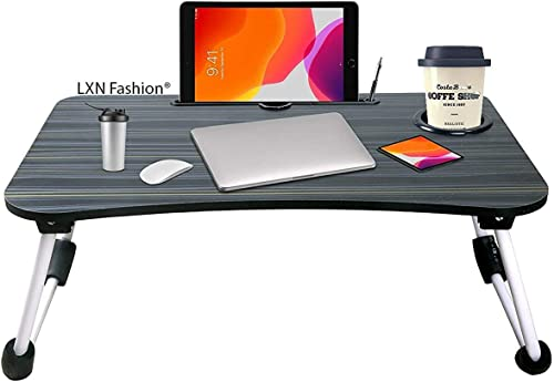LNC laptop table for home Foldable Wooden Laptop Desk for Bed Black