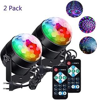 Discokugel Led Discolicht klein Kinder lunsy 6 Farbe RGB LED Musikgesteuert Party Disco Lichteffekte Discolicht 360° Drehbares Partylicht mit Fernbedienung,für Weihnachten Party Hochzeit und mehr