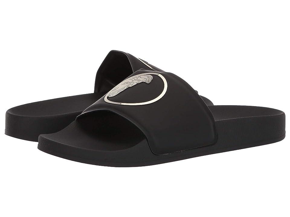 3b0f77a67a42dd Versace Collection Medusa Pool Slide (Black Light Gold Black) Men s Sandals