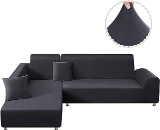 TAOCOCO Funda para sofá Funda para sofá en Forma de L Funda elástica elástica 2 Juegos para 3 Asientos + 3 Asientos, con Funda de cojín de 2 Piezas (Gris Oscuro)