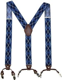 Color : Blue ZIXERN Tirantes para Hombres Los Hombres de X-Tipo Correa 4 del Clip de la Correa de Soporte Regalo para el Marido