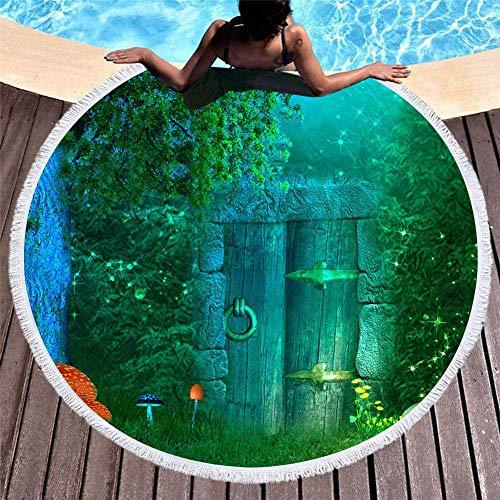 Tiffany Church Toalla de Playa de Microfibra de Unicornio con diseño de Borla Estera de baño Redonda Estera de Yoga Estera de rastreo para niños 150X150Cm