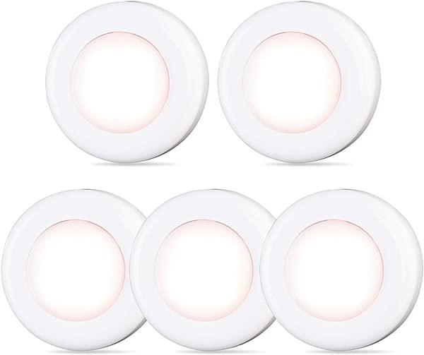 轻点灯手推灯星星闪闪 4 LED 迷你触摸灯小冰球灯电池供电棒在任何地方用强力粘合剂用于壁橱橱柜楼梯卧室厨房暖白色 5 个装