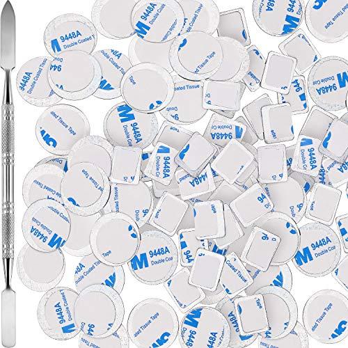 101 Stück Metallaufkleber für Lidschatten Paletten Set, Bestehend aus 1 Makeup-Depot Werkzeug, 50 Stück quadratischem Klebstoff mit Leerer Palette aus Metall und 50 Runden Runden Make-up Farben