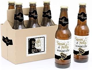 Nash Bash - Nashville Bachelorette Party Decorations for Women and Men - 6 Beer Bottle Label Stickers and 1 Carrier