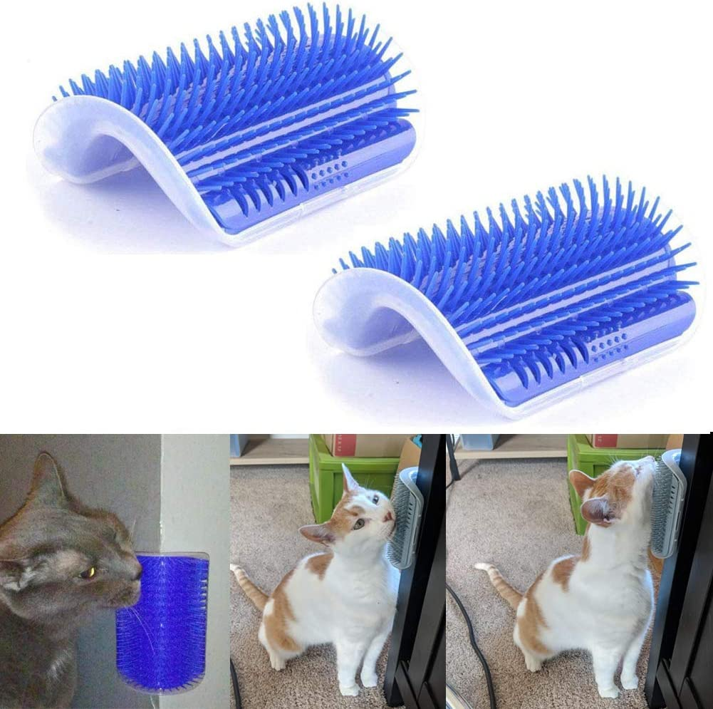 VintageBee 2 Pack Pet Brush Massage Perfect Tool for Cats with Long and Short Fur Cat Self Groomer with Catnip