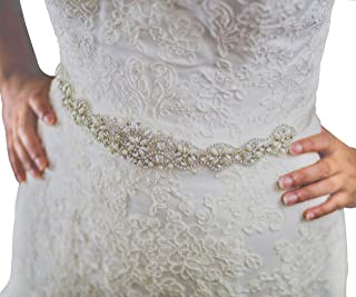 73b1984f76 SWEETV Beaded Bridal Belt Wedding Belt Pearl Sash for Women Dress Gown  Accessories