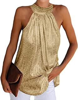 Ptyhk RG Women's Sequins Blouse Tank Tops Halte-Neck Relaxed Fit Casual Sleeveless T-Shirt