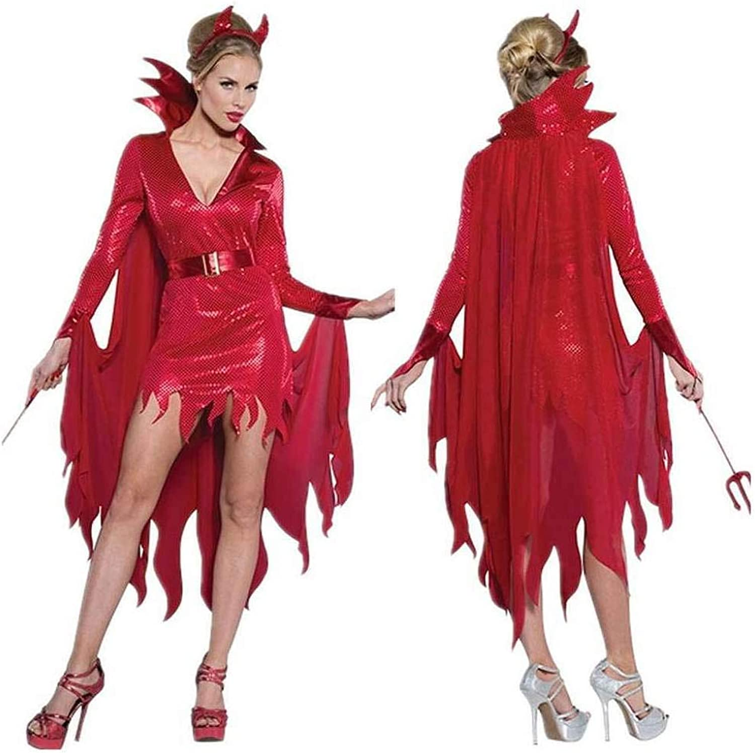 KAIDILA Halloween Red Devil Costume Adult Cosplay Horn Witch Witch Role Play Stage Outfit
