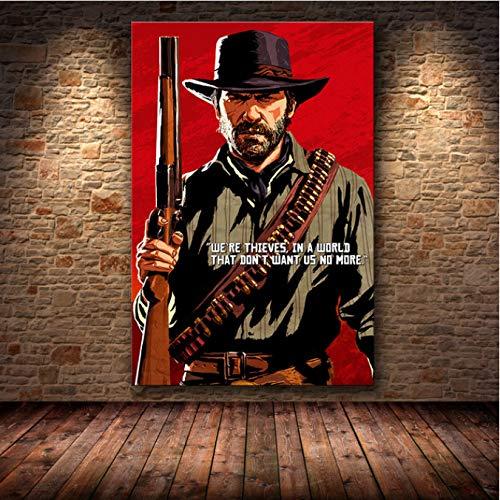 nobrand Spielplakat The Red Painting Decoration Dead: Redemption 2 Kunst Home Decoration Leinwand Malerei Poster Rahmenloses Gemälde 50X70Cm (M: 0436)