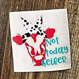 Not Today Heifer Vinyl Decal | Funny Cow with Bandana Sticker for Yeti Tumbler, RTIC Cup, Water Bottle, Laptop, Car Window | Red, Turquoise - 3.5 inches