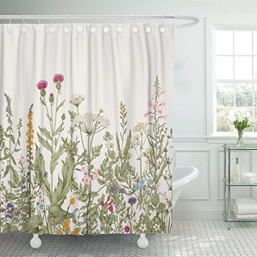 TOMPOP Shower Curtain Vintage Floral Border Herbs and Wild Flowers Botanical Engraving Style Colorful Field Vegetation Waterproof Polyester Fabric 72 x 78 Inches Set with Hooks