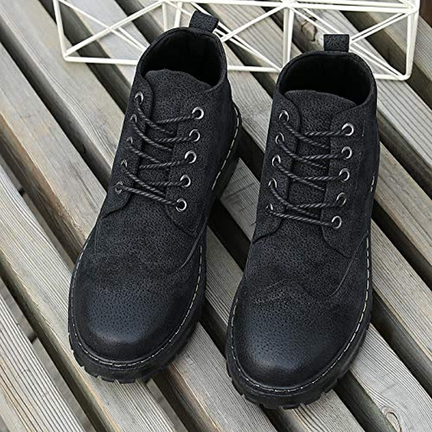 Shukun Men's boots Autumn And Winter Men'S shoes Martin Boots High Help Tooling Boots shoes Wild Casual shoes Wear High shoes