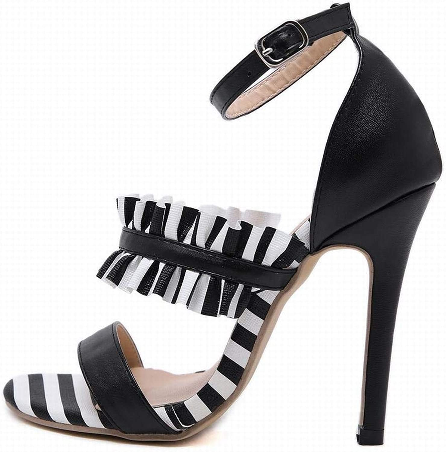 KRPENRIO Women's High Heel Sandals Sexy Black And White Striped Stiletto Heels