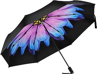 FJMOD 日傘 折りたたみ 傘 軽量 晴雨兼用 UVカット率99.9% 耐風撥水完全遮光 折り畳み傘 レディース 可愛 人気 梅雨対策通勤 通学 (瑠璃の花)