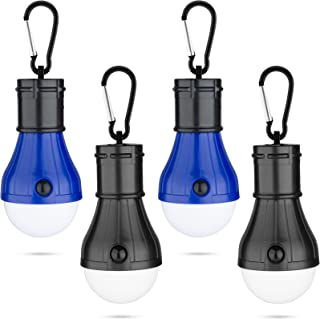 4 Pcs/Set LED Camping Light Bulbs, Lotus Blue Compact Led Tent Lights Lamp, Portable Camping Light Bulbs Lantern for Hurri...