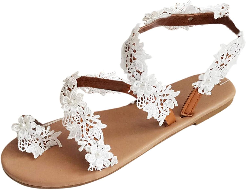 Womens Slide Sandal Ladies Casual Vintage White Ring Toe Floral Flat Sandals Beach Shoes