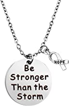 BEKECH Cancer Survivor Gift Be Stronger Than The Storm Keychain Awareness Ribbon Charm Recovery Jewelry Cancer Awareness Gifts