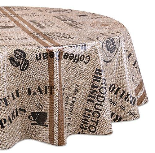 Wachstuchtischdecke OVAL RUND ECKIG Motiv u. Größe wählbar, Tischdecke abwischbar (Rund 120 cm Kaffeebohnen)