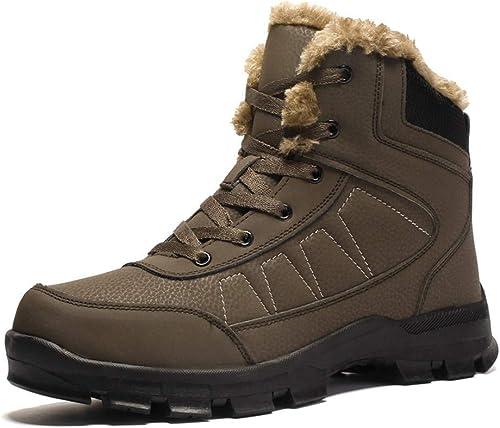 Fuxitoggo Bottes pour Hommes, Chaussures de de Travail Confortables, antidérapantes, Confortables, décontractées, Haut de Gamme et Coton (Couleur  Noir, Taille  40 EU) (Couleuré   Marron, Taille   39 EU)