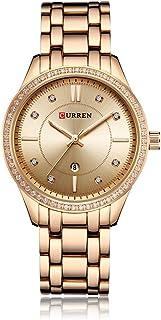 Curren 9010 Quartz Movement Round Dial Stainless Steel Strap Waterproof Women Wristwatch - Gold