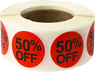 50% Percent Off Stickers for Retail 0.75 Inch 500 Adhesive Labels